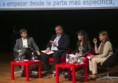 Componentes de la mesa: Carlos Sánchez y José Luis Borau (Fundación ONCE), Rosa M. Regatos Soriano (Centro Estatal de Autonomía Personal y Ayudas Técnicas), y Belén Crespo Sánchez (Oficina de la Alta Comisionada para la Agenda 2030)
