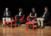 Componentes de la mesa: Ivor Ambrose (Red Europea de Turismo Accesible), Marina Diotallevi (Organización Mundial del Turismo), Sophie Bachet Ganados (Blue Flag) y Olaf Schlieper. (Turismo Alemania)