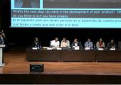 Componentes de la mesa: David Zanoletty (Fundación ONCE), Alfonso Escriche (Park4Dis), Gerardo A. Barbarov (Singular Devices), Mª Angeles Martínez (ONCE), Carlos Castellano (Park4Dis), Yod Samuel Martín (UPM), Juan G. Victores (UC3M), Bartek Lukawski (UC3M) y Jennifer J. Gago (UC3M)