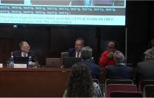 Algunos componentes de la mesa: José Miguel Luque  (ONCE), Alejandro Rodriguez (UNED), Antonio J. Moreno (ASPRODISIS) y Carmen Juan Jorques (Visualfy)