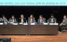 Componentes de la mesa: Pilar Soret (ILUNION), Silvia Martínez (Universidad de Granada), Cristina Álvarez (Universidad de Granada), Marta García-Múñoz (GVAM),  Marta Tabernero (Mecenas 2.0 Cultural Management), José Alberto Simón (FEEEL) y Felipe Milano (KRILL AUDIO)