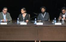 Componentes de la mesa: Dani Guasch (Universidad Politécnica de Cataluña),  Ana Vieitez (Transports Metropolitans de Barcelona), Hugo Correia Duarte (Dreamwaves) y Álvaro Bravo (Lazarillo)