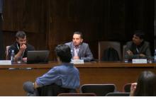 Componentes de la mesa: Kevin Martín (Universidad de La Laguna), Alberto Jardón (Universidad Carlos III de Madrid) y Teodiano Freire (Universidad Federal do Espirito Santo de Brasil)