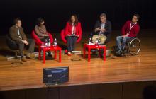 Foto de la mesa compuesta por: Neil Milliken (ATOS), Lara Moratón (SAMSUNG), Roxana Widmer-Iliescu (ITU), Carlos de la Iglesia (Microsoft España) y Jorge Iglesias (IBM).